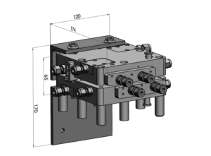 CAD model of EK metallic 50 cm² single cell designed for testing purposes.